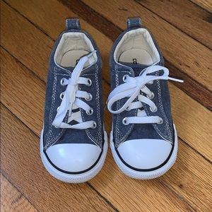 Blue washed denim toddler converse sneakers